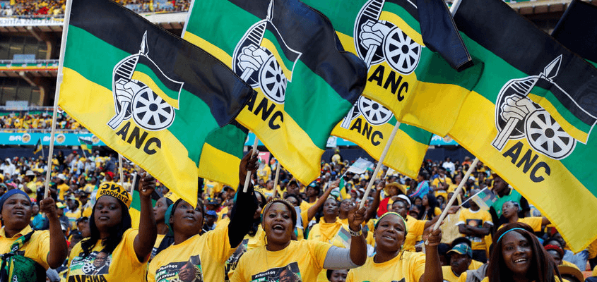 stadium crowd with ANC banners