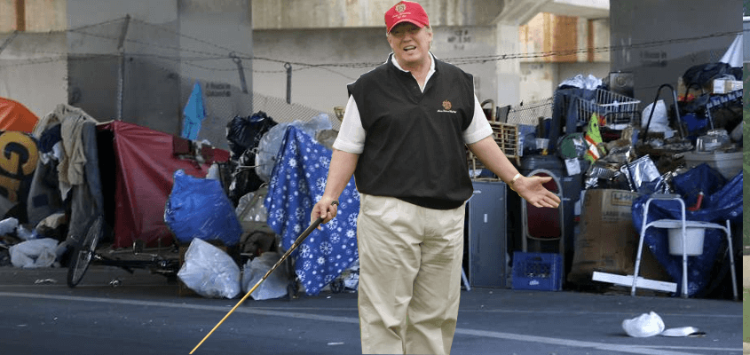 Trump visits a homeless encampment